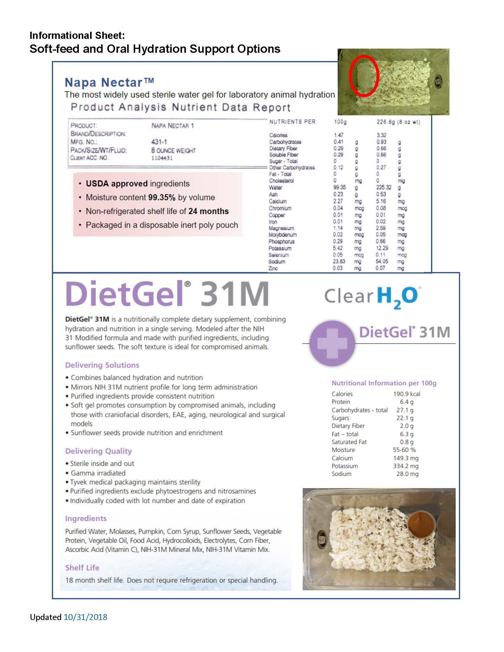 Image of the breakdown of nutritional content for both Napa Nectar and DietGel products